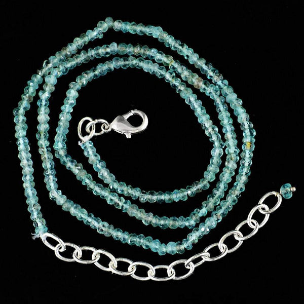 gemsmore:Round Shape Blue Apatite Necklace Natural Single Strand Faceted Beads