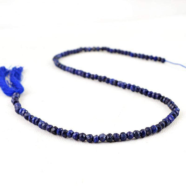 gemsmore:Round Shape Blue Lapis Lazuli Drilled Beads Strand - Natural Faceted