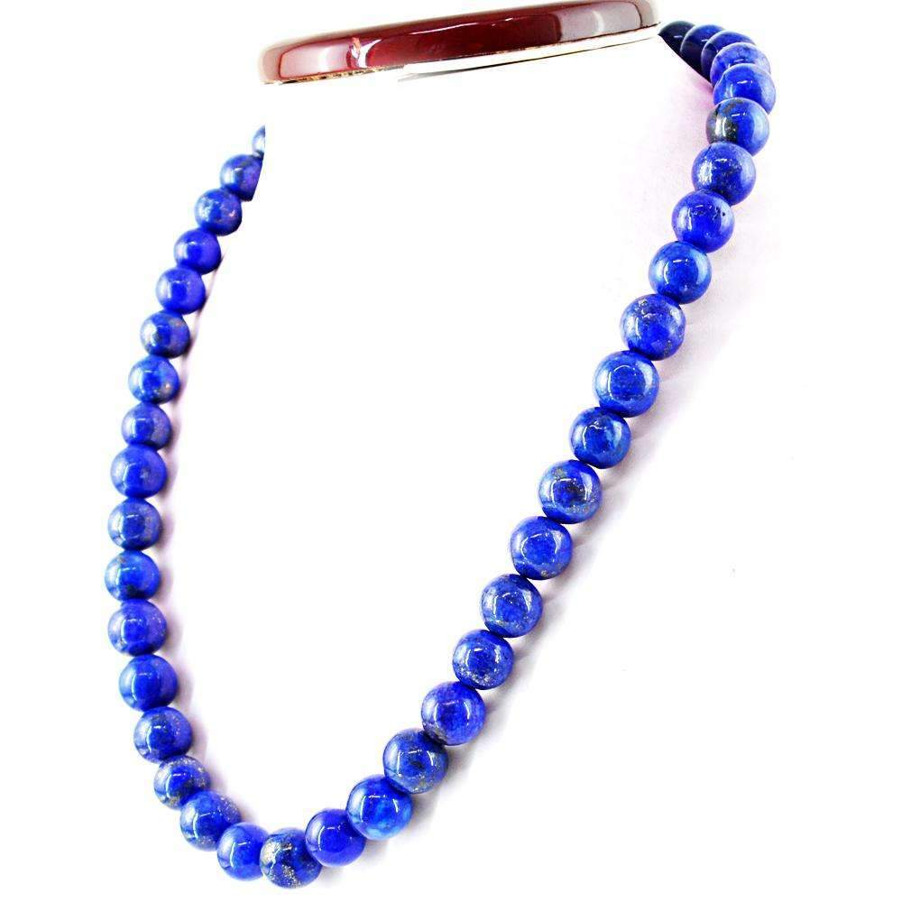 gemsmore:Round Shape Blue Lapis Lazuli Necklace Natural Untreated Beads