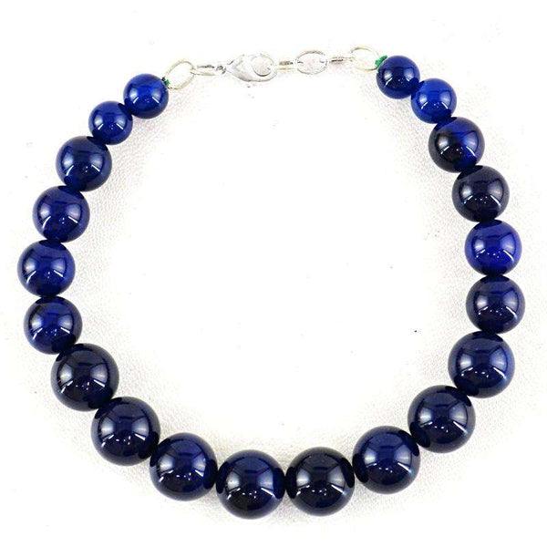 gemsmore:Round Shape Blue Onyx Beads Bracelet Natural Untreated