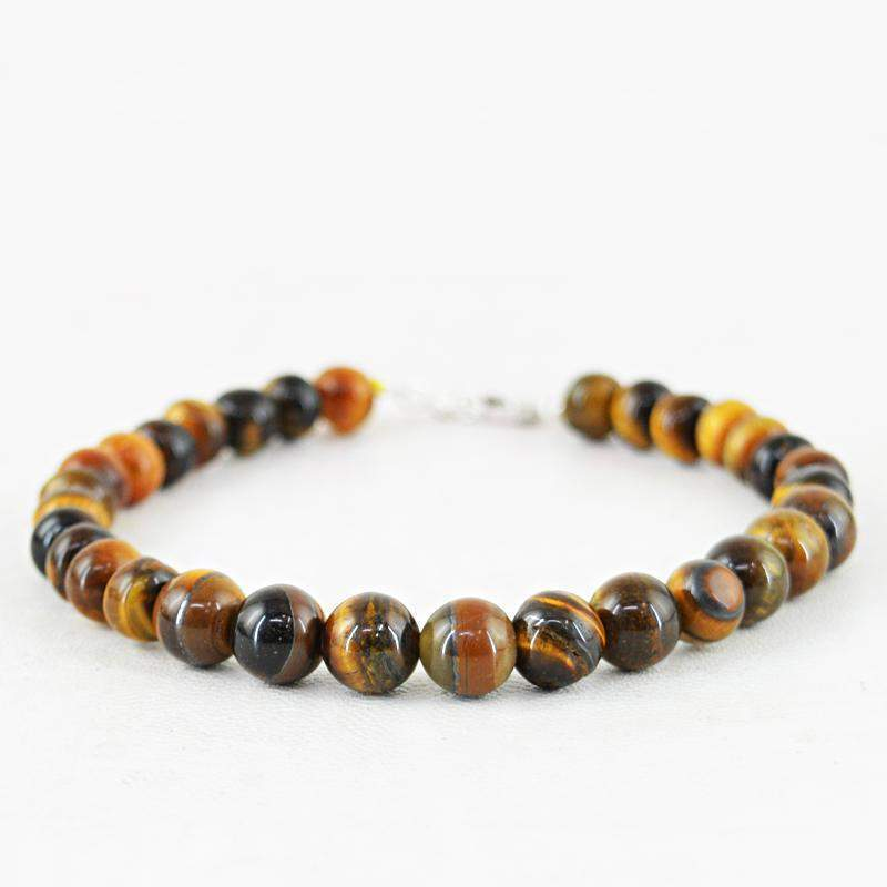 gemsmore:Round Shape Golden Tiger Eye Bracelet Natural Untreated Beads