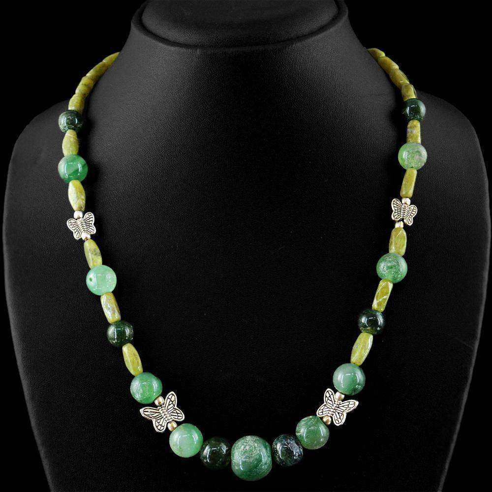 gemsmore:Round Shape Green Jade Necklace Natural Untreated Beads