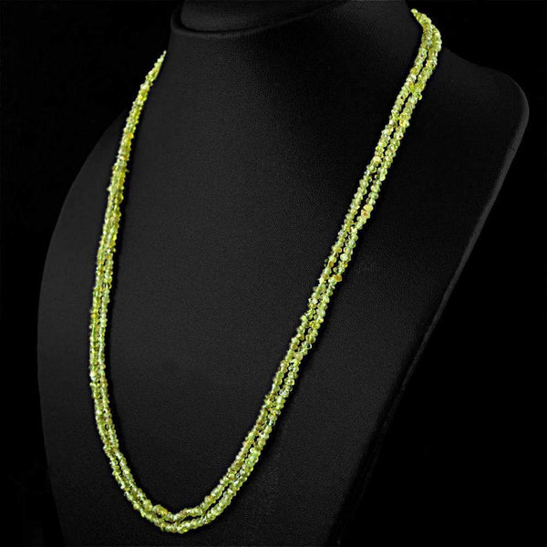 gemsmore:Round Shape Green Peridot Necklace Natural 2 Line Faceted Beads