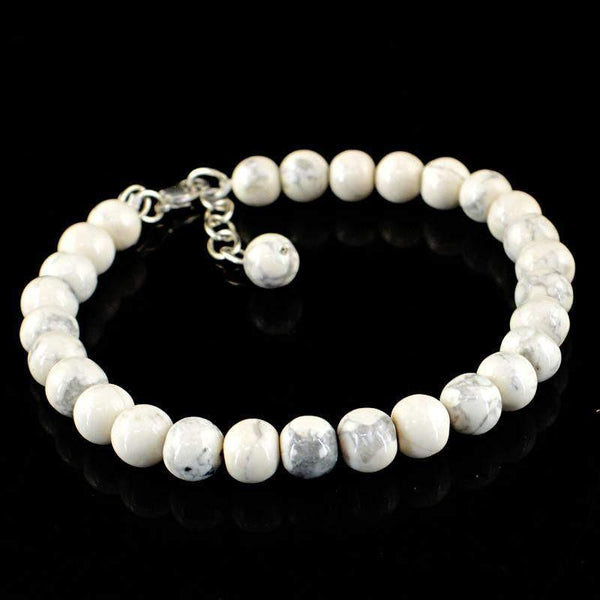 gemsmore:Round Shape Howlite Bracelet Natural Untreated Beads