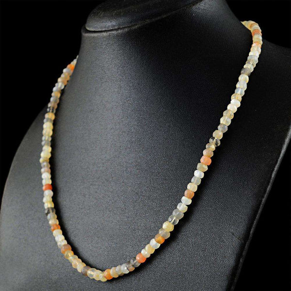 Natural Tanzanite Opal Emerald Moonstone Lace Agate Round Faceted Beads Necklace
