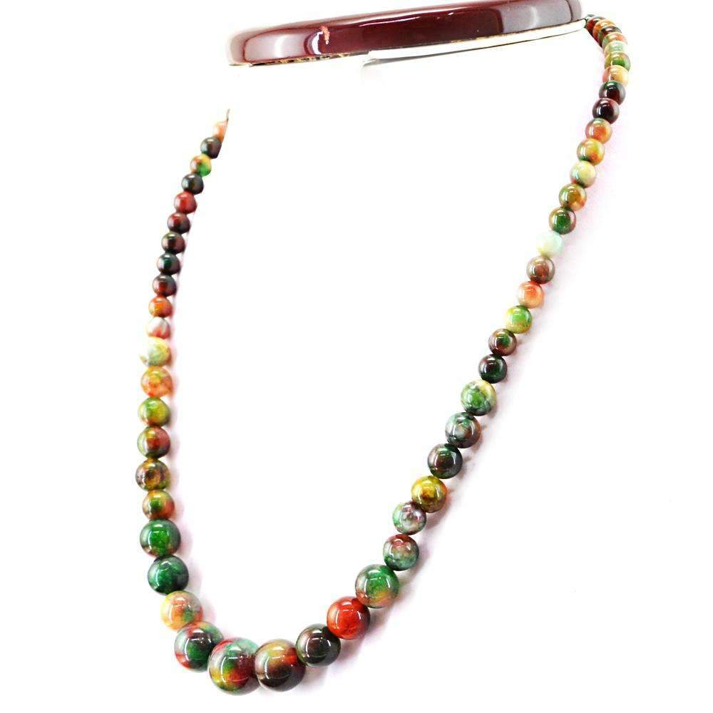 gemsmore:Round Shape Ocean Jasper Necklace Natural Single Strand Unheated Beads