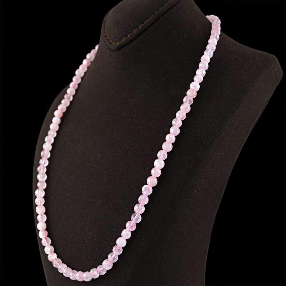 gemsmore:Round Shape Pink Rose Quartz Necklace Natural Untreated Beads