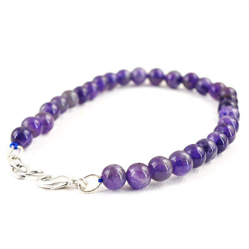 gemsmore:Round Shape Purple Amethyst Bracelet Natural Untreated Beads