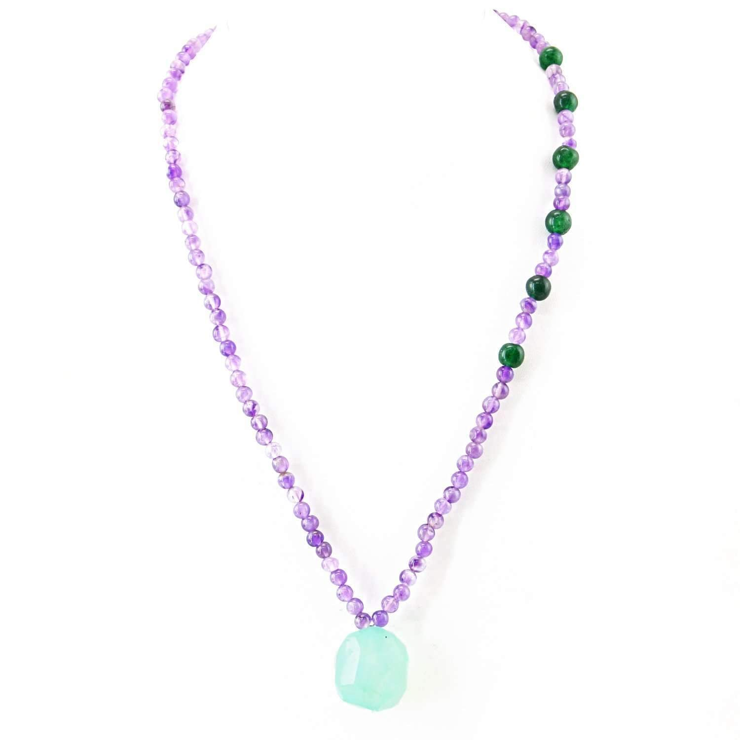 gemsmore:Round Shape Purple Amethyst & Green Jade Necklace Natural Untreated Beads