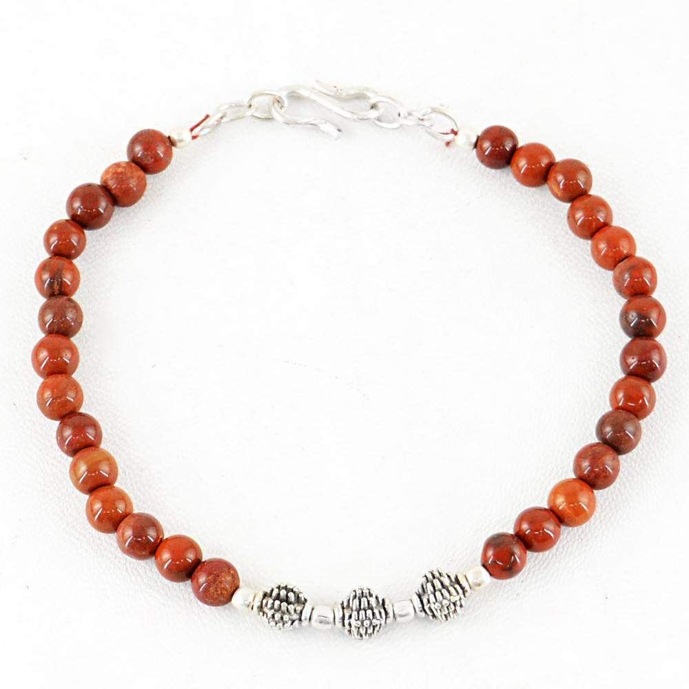 gemsmore:Round Shape Red Jasper Bracelet Natural Untreated Beads