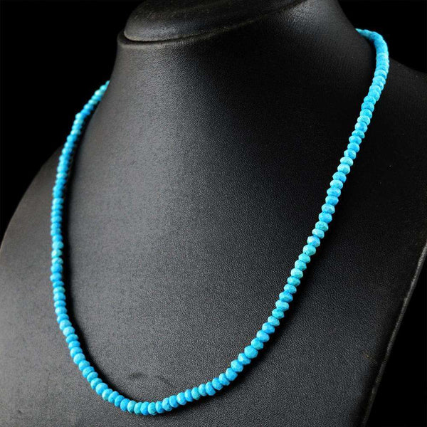 gemsmore:Round Shape Turquoise Necklace - Natural Faceted Beads
