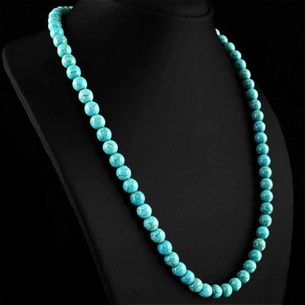 gemsmore:Round Shape Turquoise Necklace Natural 20 Inches Long Untreated Beads