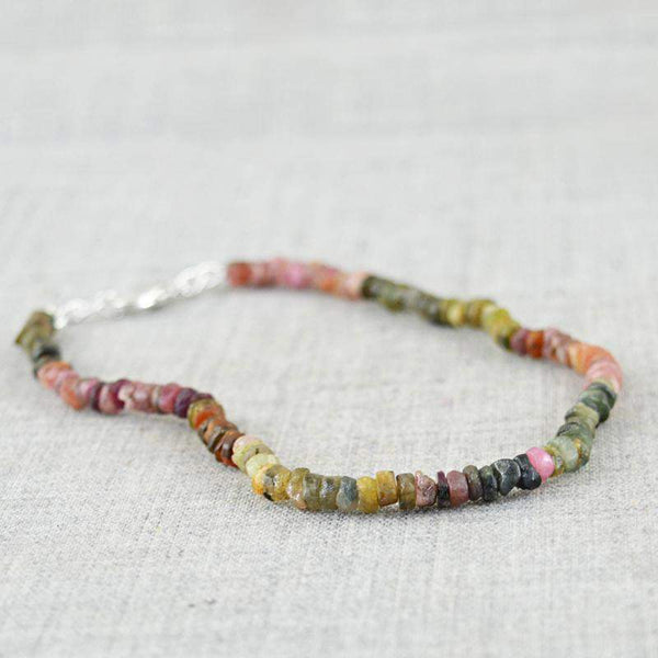 gemsmore:Round Shape Watermelon Tourmaline Bracelet - Natural Faceted Beads
