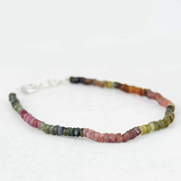 gemsmore:Round Shape Watermelon Tourmaline Bracelet Natural Faceted Beads