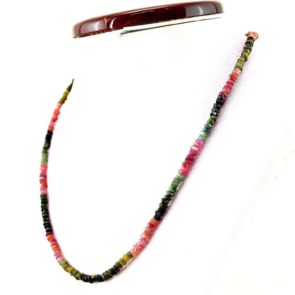 gemsmore:Round Shape Watermelon Tourmaline Necklace Natural Faceted Beads