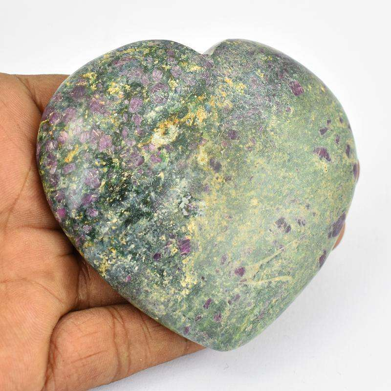gemsmore:Ruby Zoisite Heart Shape Carved Cabochon