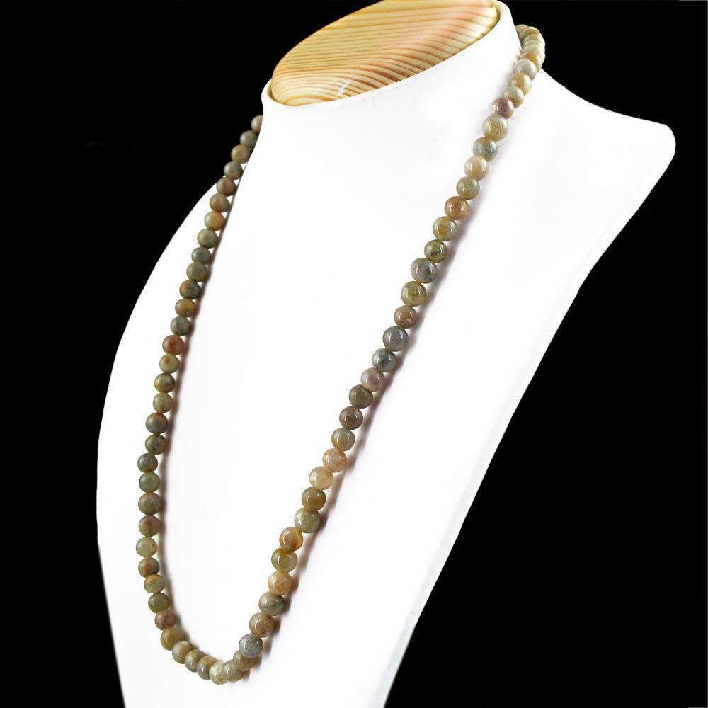 gemsmore:Rutile Quartz Necklace Round Shape Natural 20 Inches Long Untreated Beads