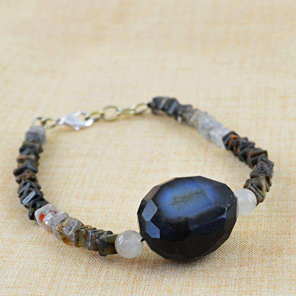 gemsmore:Rutile Quartz & White Quartz Bracelet - Natural Untreated Beads