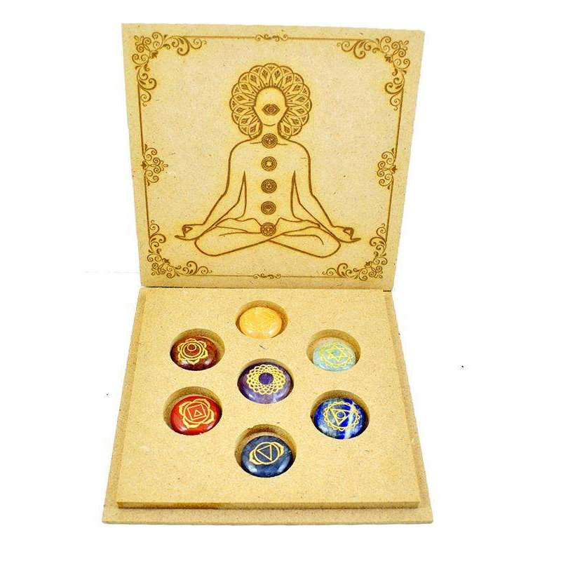 gemsmore:Seven Chakra Carved Gemstone In Meditation Wooden Box