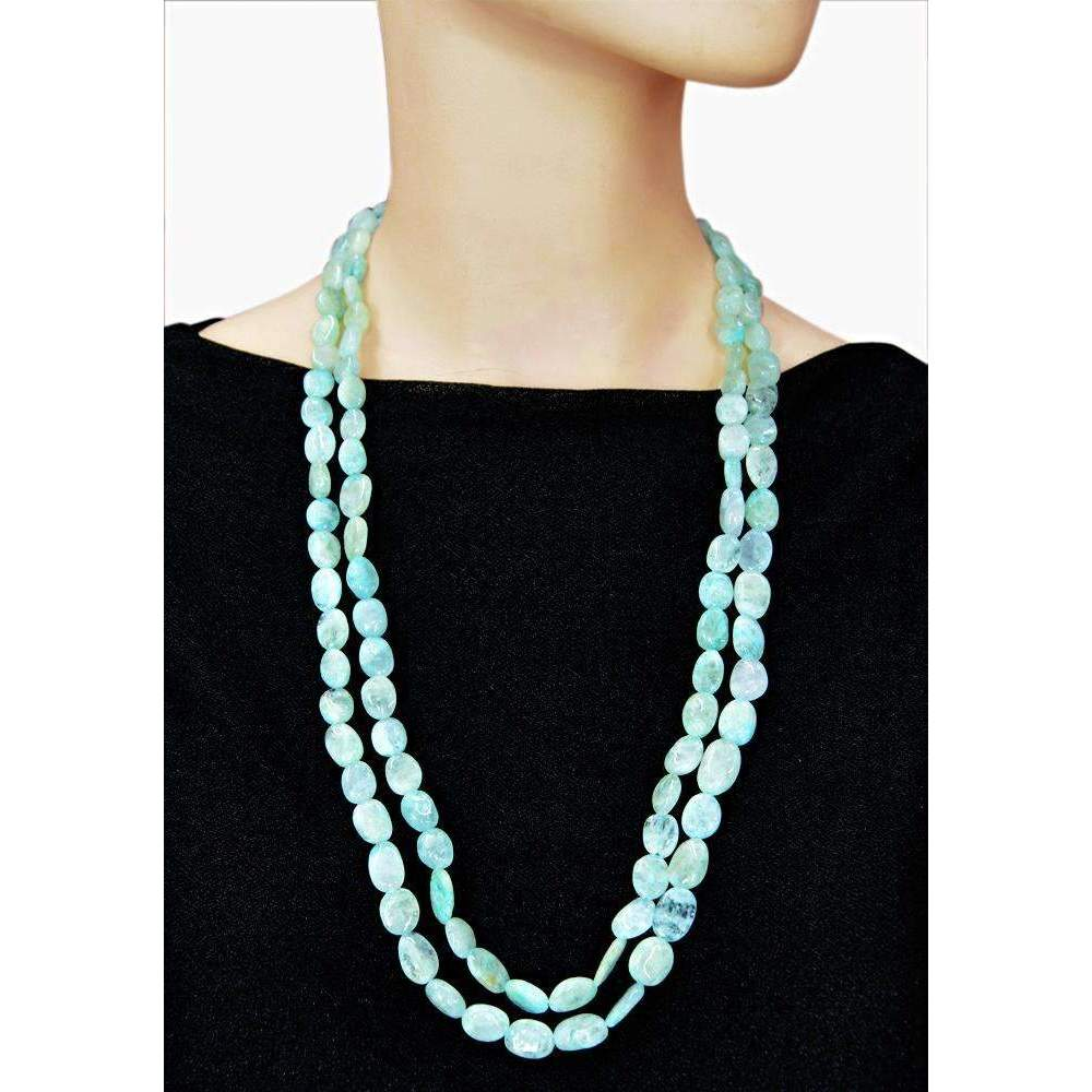 gemsmore:Single Strand Blue Aquamarine Necklace Natural Oval Shape Beads