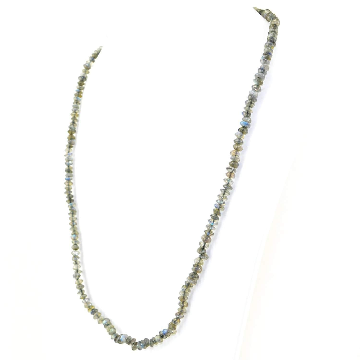 gemsmore:Single Strand Blue Flash Labradorite Necklace Natural Faceted Round Beads