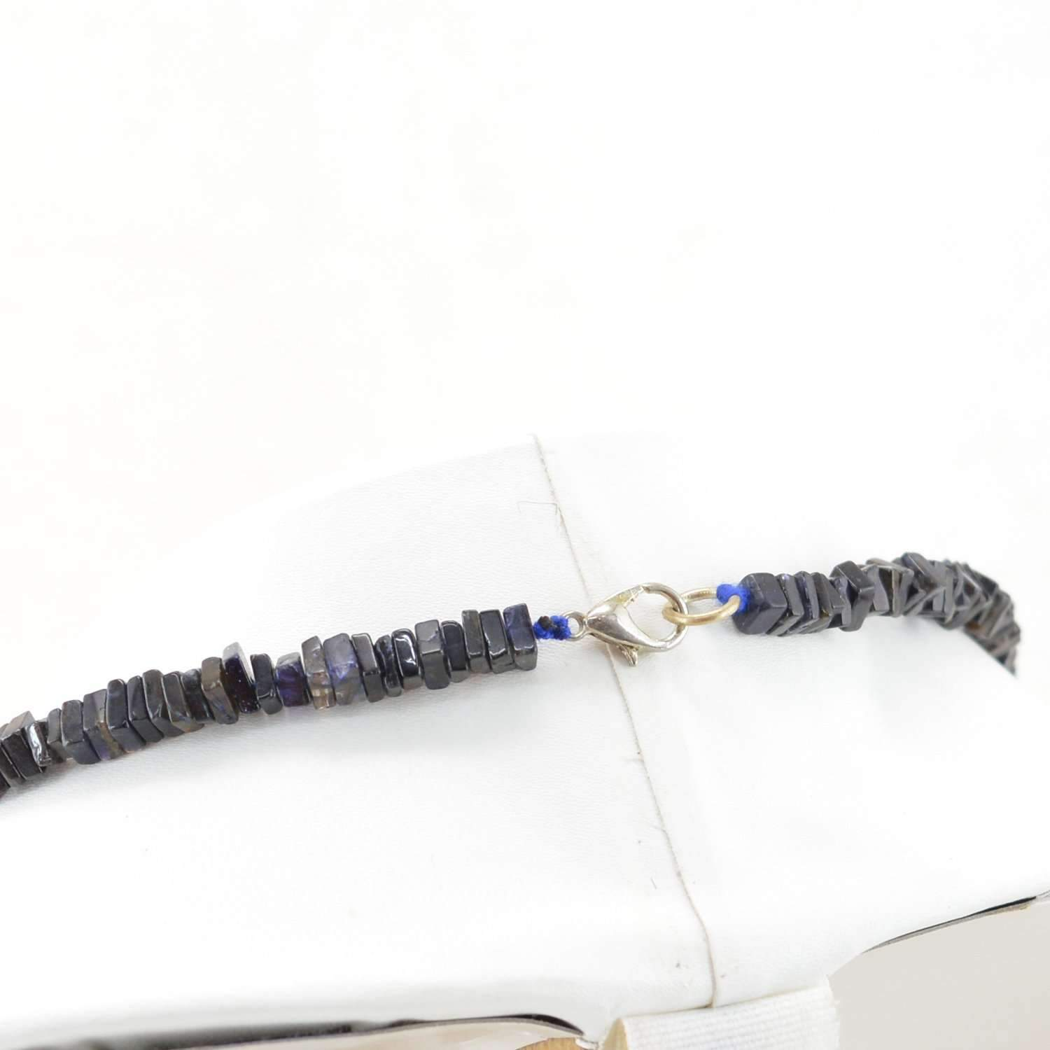 gemsmore:Single Strand  Blue Tanzanite Necklace Natural Untreated Beads