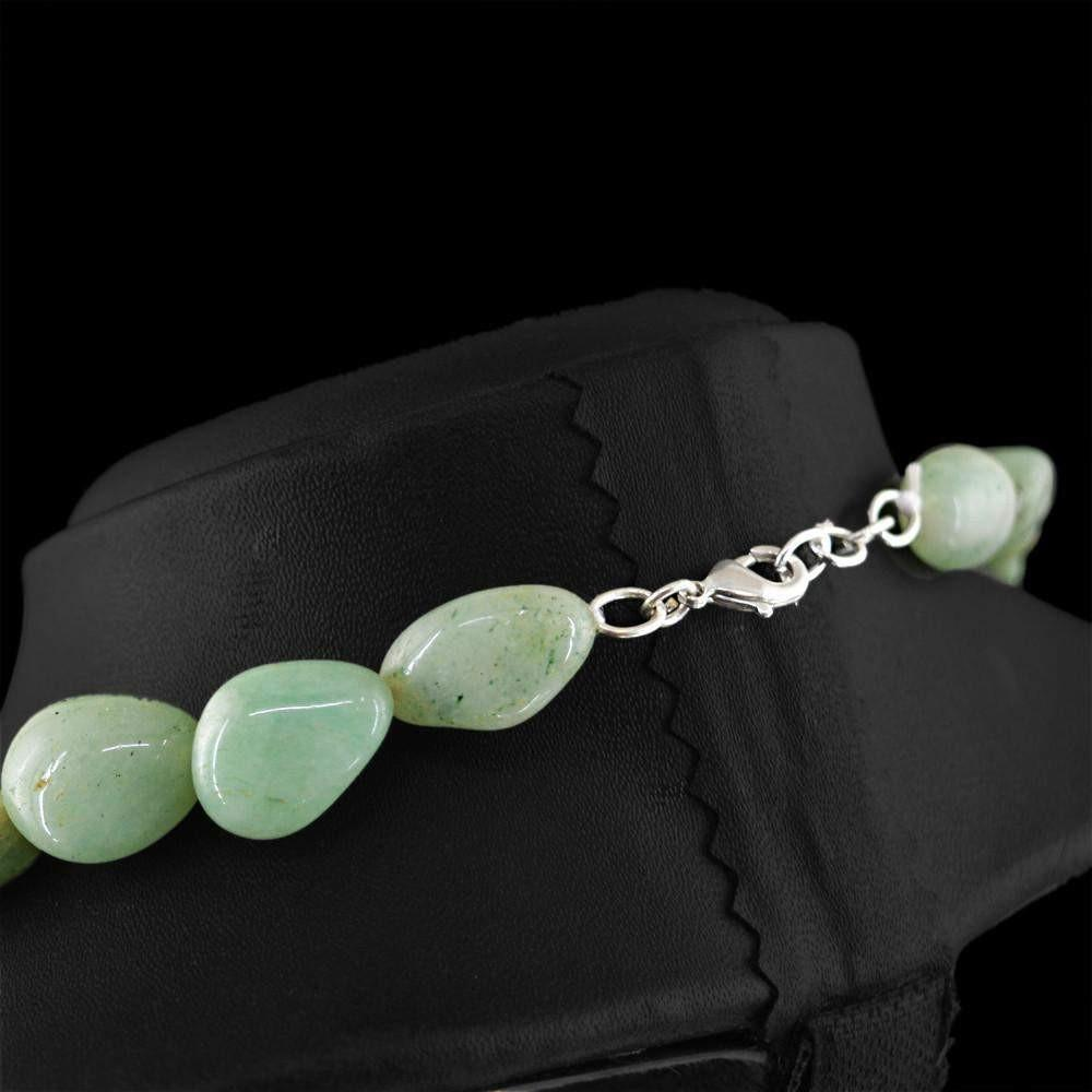 gemsmore:Single Strand Green Aventurine Necklace Natural Untreated Beads