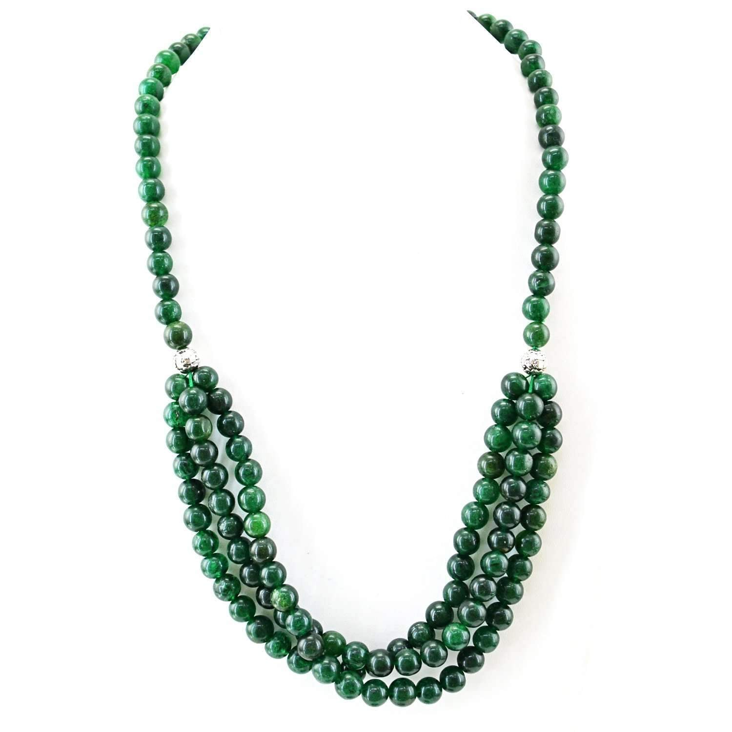 gemsmore:Single Strand Green Jade Necklace Natural Round Shape Beads