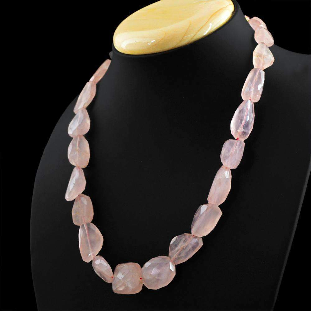 gemsmore:Single Strand Pink Rose Quartz Necklace Natural Faceted Beads - Best Quality