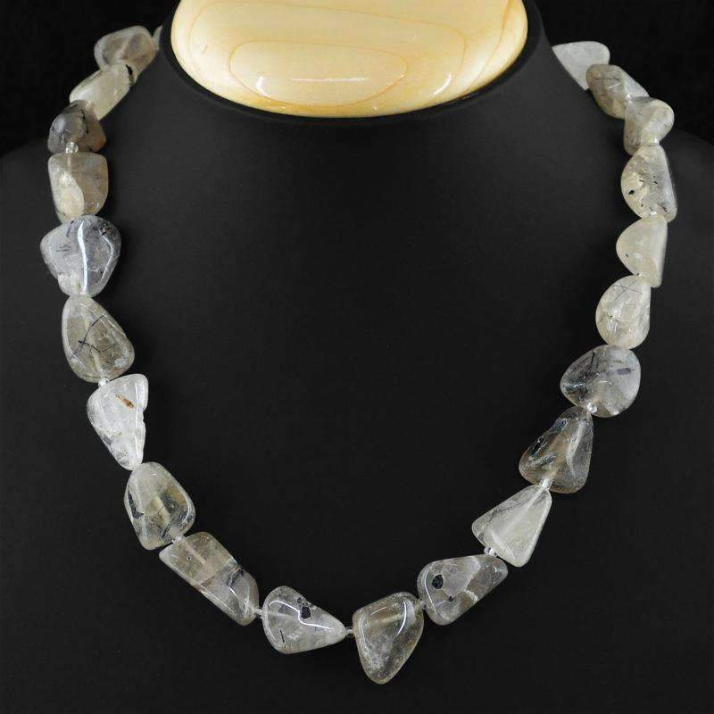 gemsmore:Single Strand Rutile Quartz Necklace Natural Untreated Beads