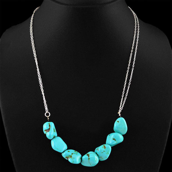 gemsmore:Single Strand Turquoise Necklace Natural Untreated Beads