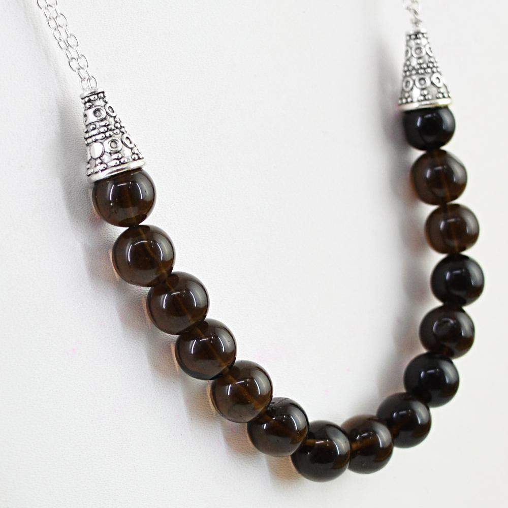 gemsmore:Smoky Quartz Necklace Natural Untreated Single Strand Round Shape Beads