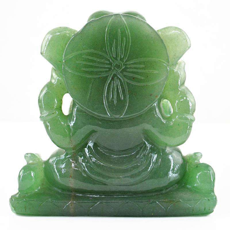 gemsmore:SOLD OUT : Green Aventurine Lord Ganesha Idol On Throne