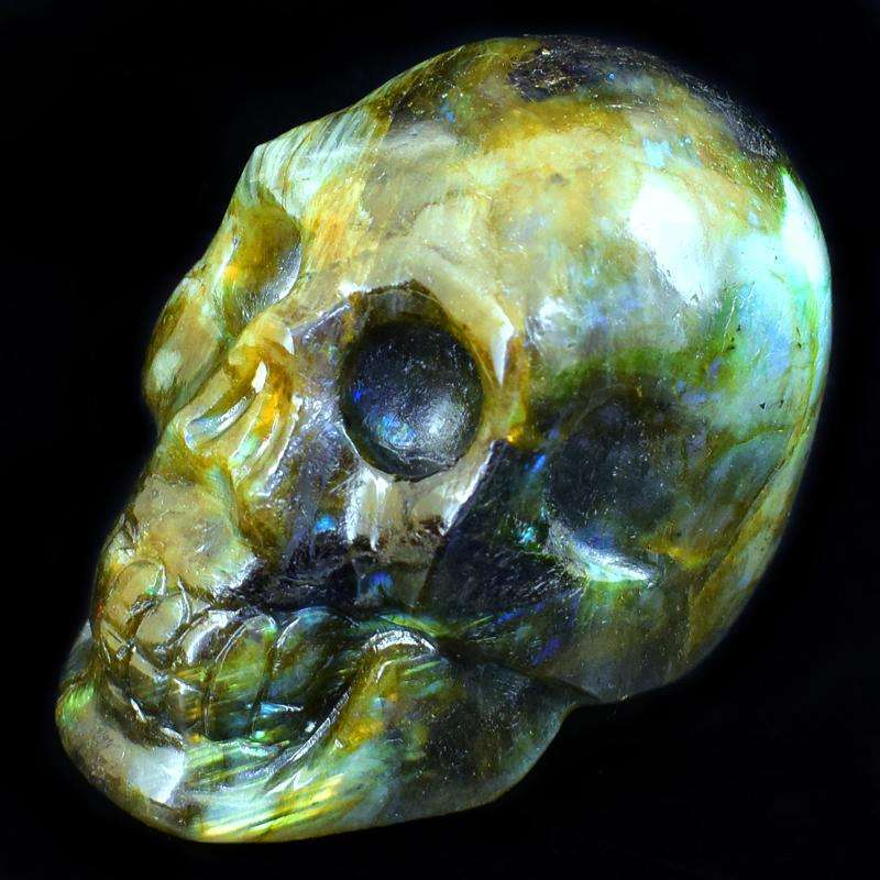 gemsmore:Stunning Amazing Flash Labradorite Carved Human Skull