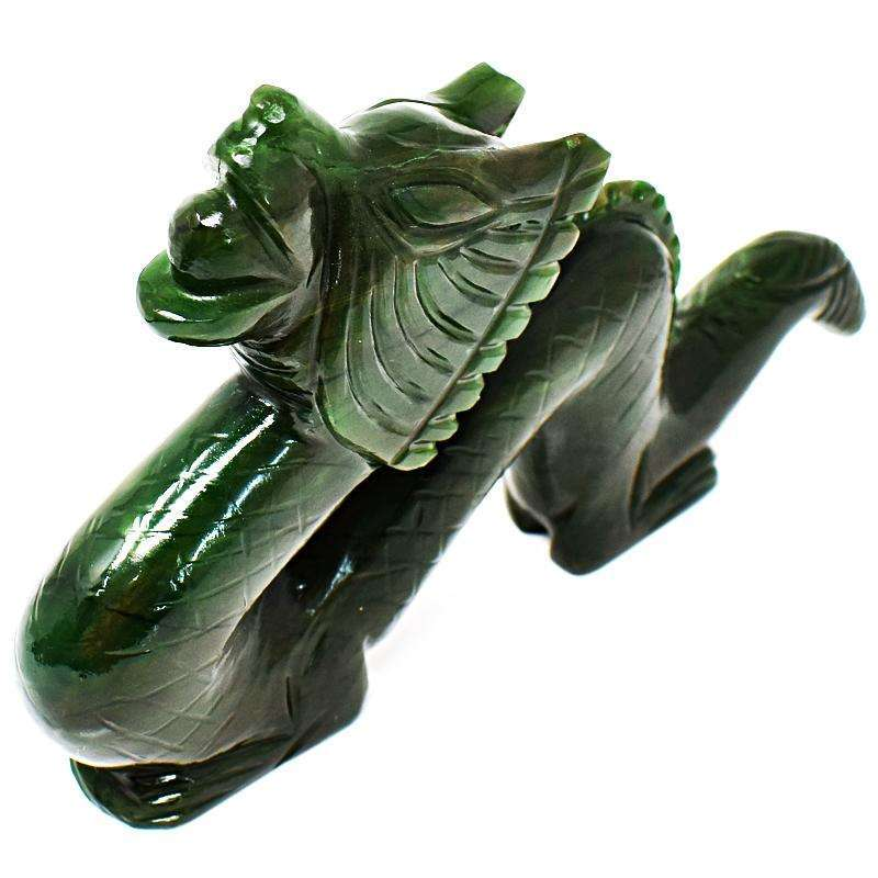 gemsmore:Stunning Green Jade Artisian Hand Carved Dragon Gemstone