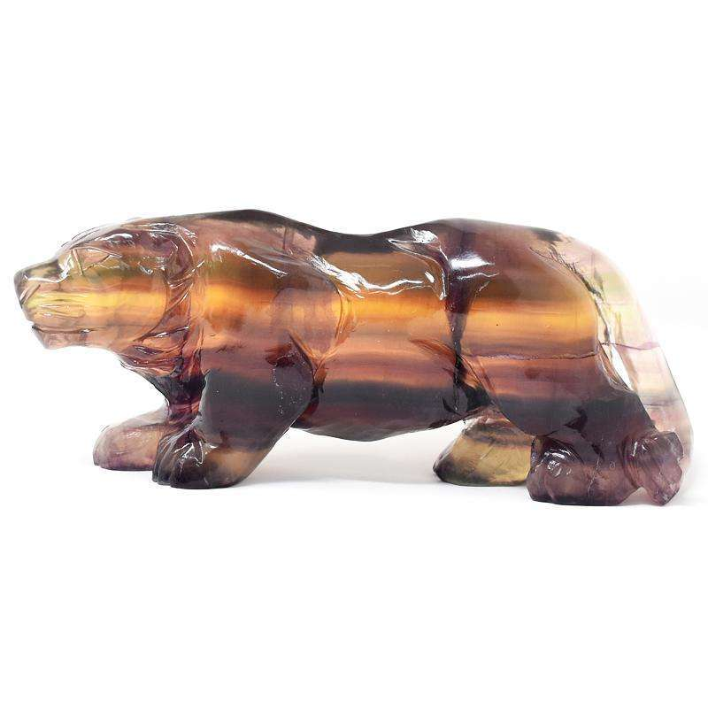 gemsmore:Stunning Multicolor Fluorite Hand Carved Lion