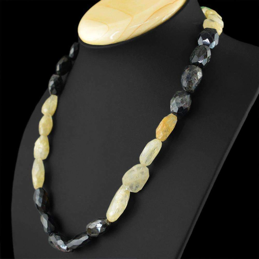 gemsmore:Tourmaline & Rutile Quartz Necklace Natural Single Strand Faceted Untreated Beads