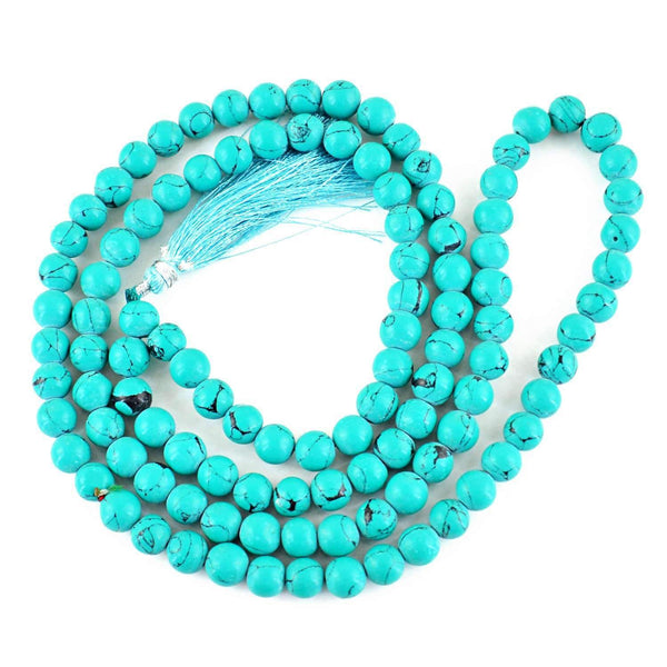 gemsmore:Turquoise Necklace Natural 108 Beads Prayer Mala