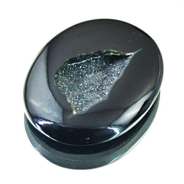 gemsmore:Unheated - Natural Black Druzy Onyx Gemstone Oval Shape