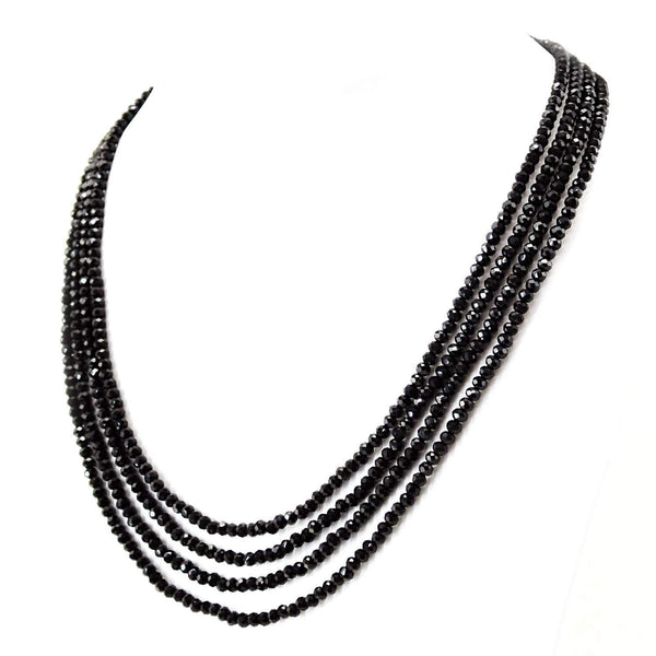 gemsmore:Untreated Black Spinel Necklace Natural 4 Line Round Cut Beads