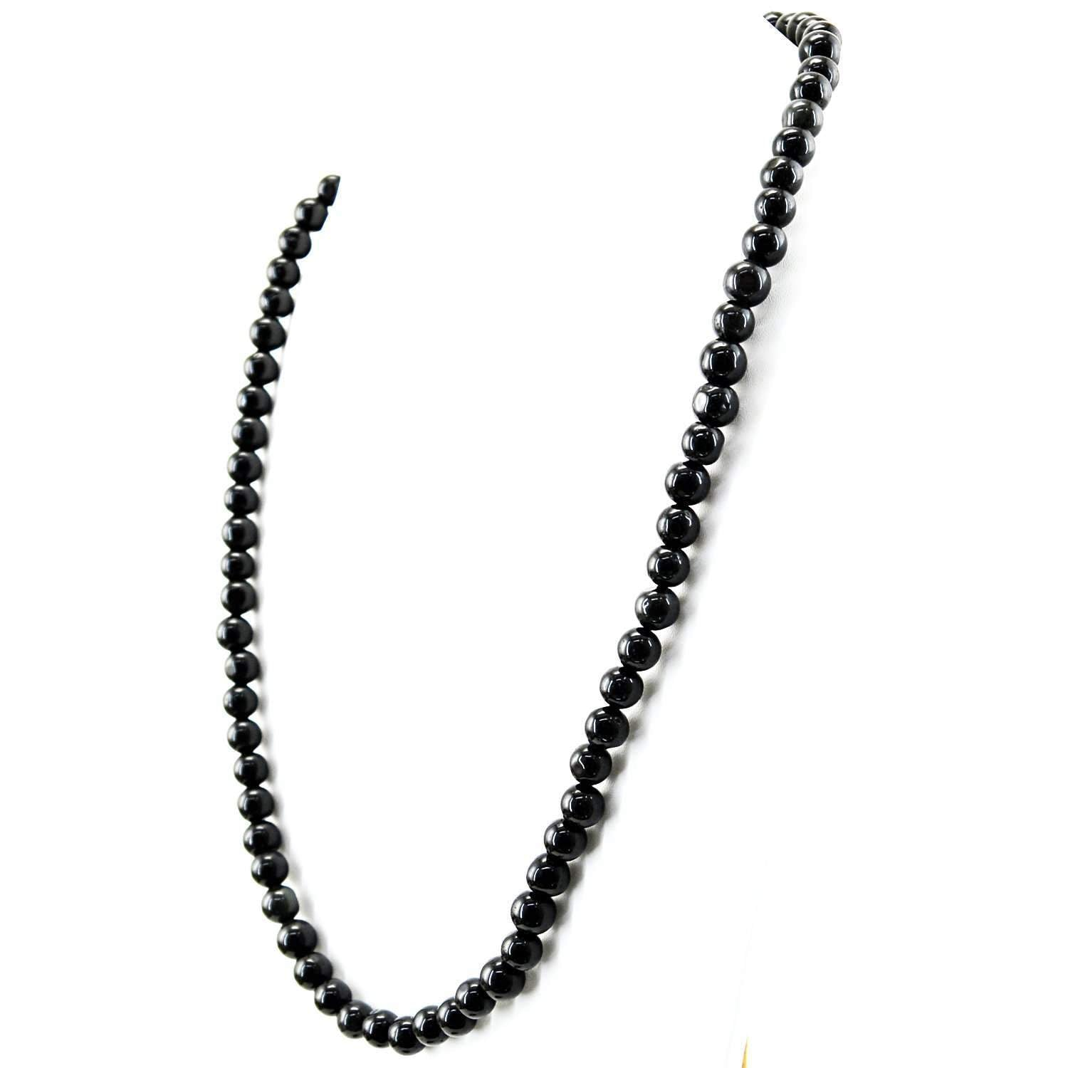 gemsmore:Untreated Black Spinel Necklace Natural Round Shape Beads