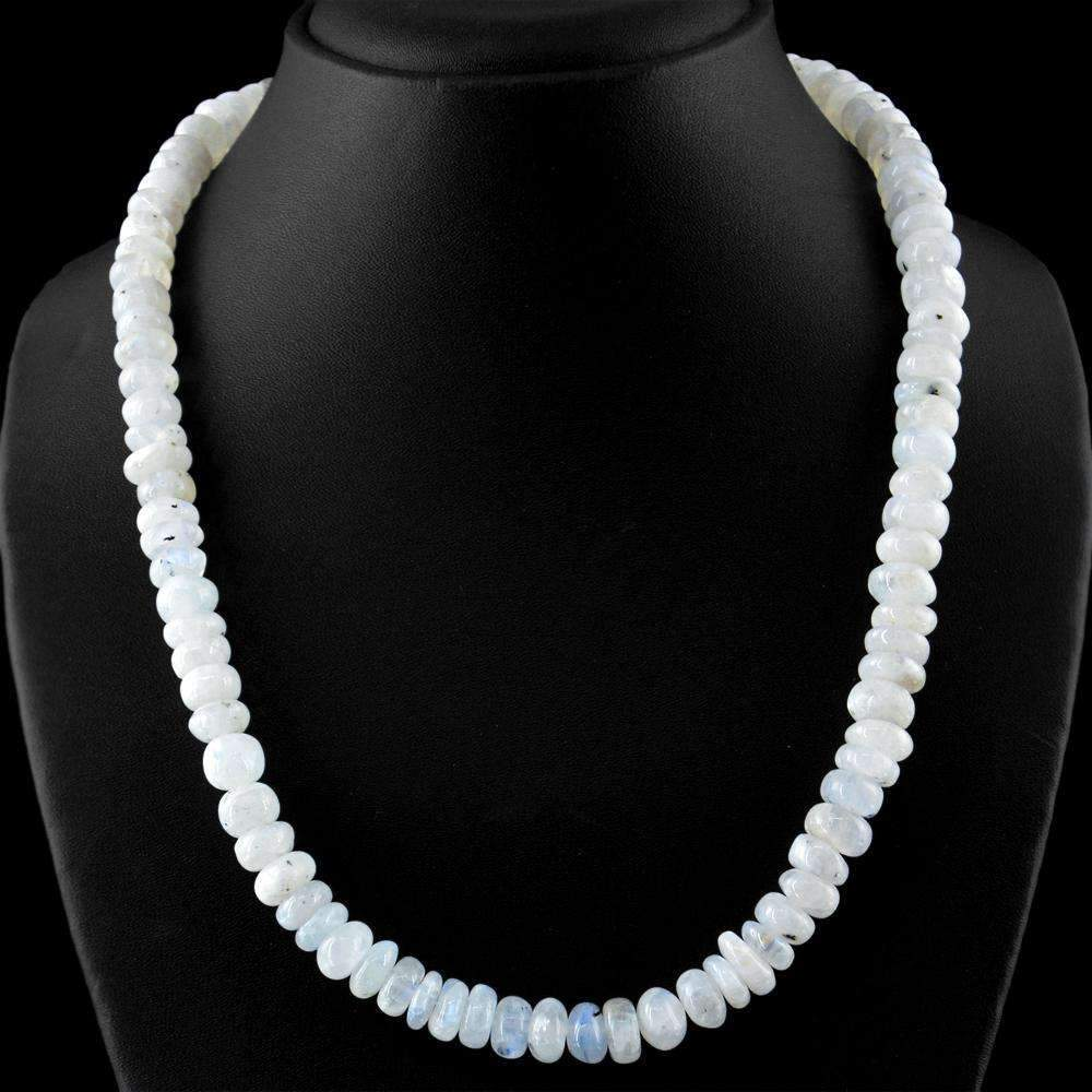 gemsmore:Untreated Blue Flash Moonstone Necklace Natural Round Beads