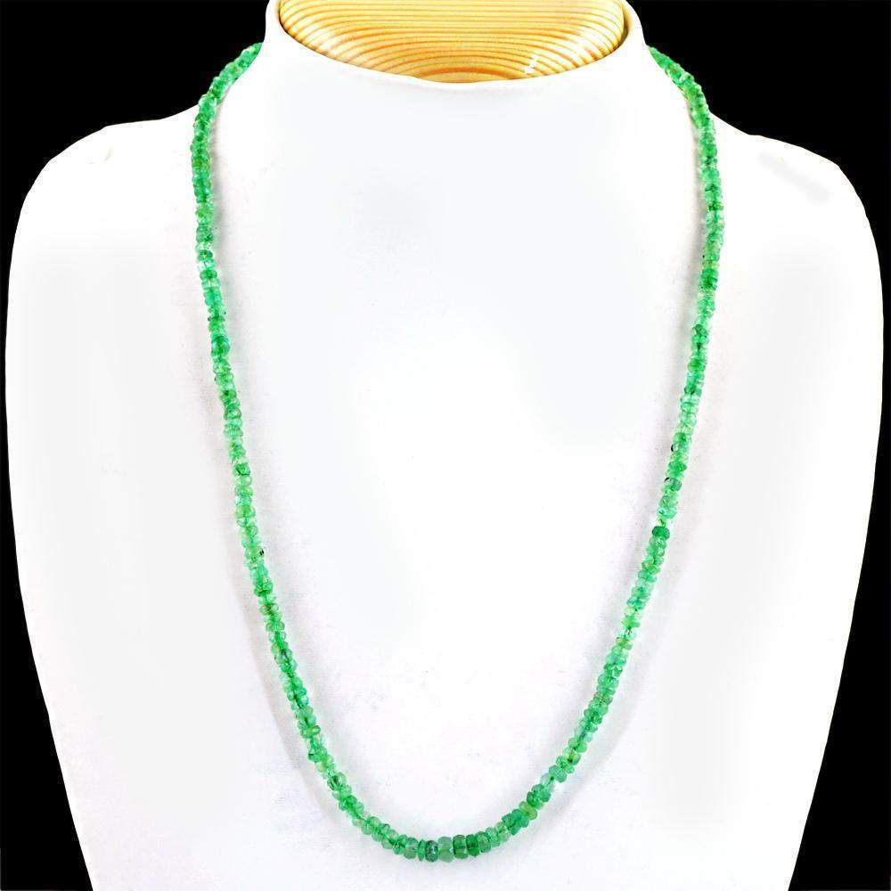 gemsmore:Untreated Green Emerald Necklace Natural Round Shape Faceted Beads