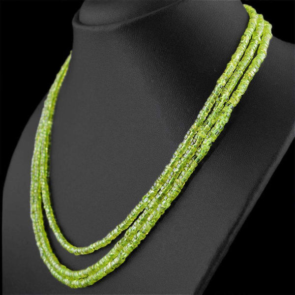 gemsmore:Untreated Green Peridot Necklace Natural 3 Line Round Shape Beads