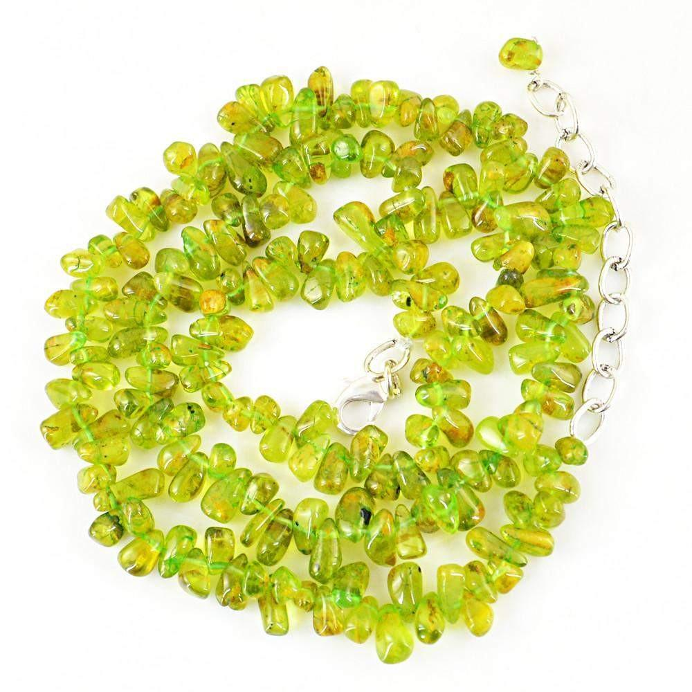 gemsmore:Untreated Green Peridot Necklace Natural Tear Drop Beads