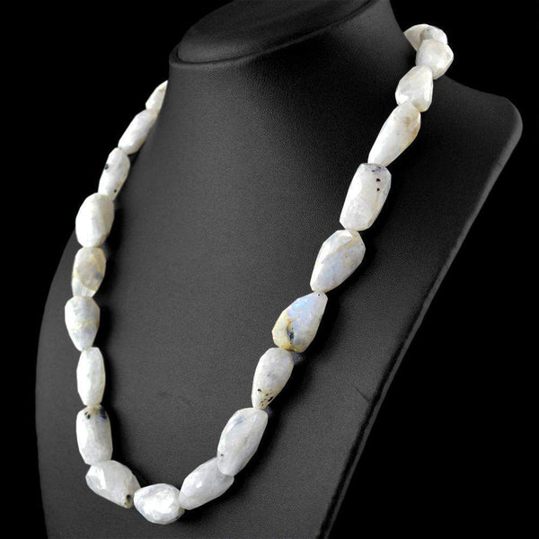 gemsmore:Untreated Natural Blue Flash Moonstone Necklace Faceted Beads