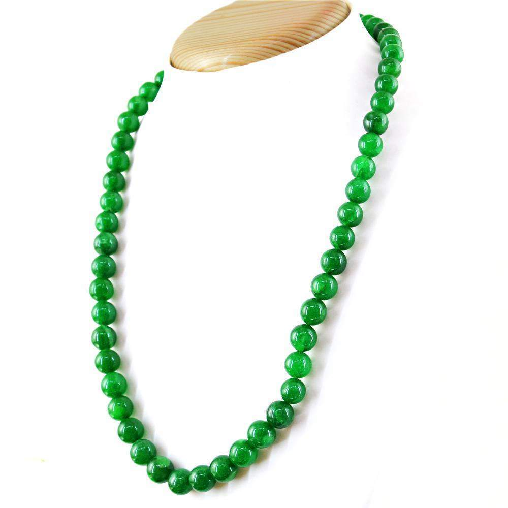 gemsmore:Untreated Natural Green Jade Necklace Round Shape Beads
