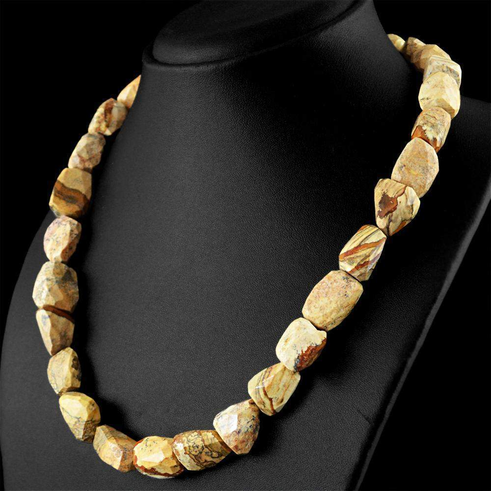 gemsmore:Untreated Natural Jasper Necklace Single Strand Faceted Beads