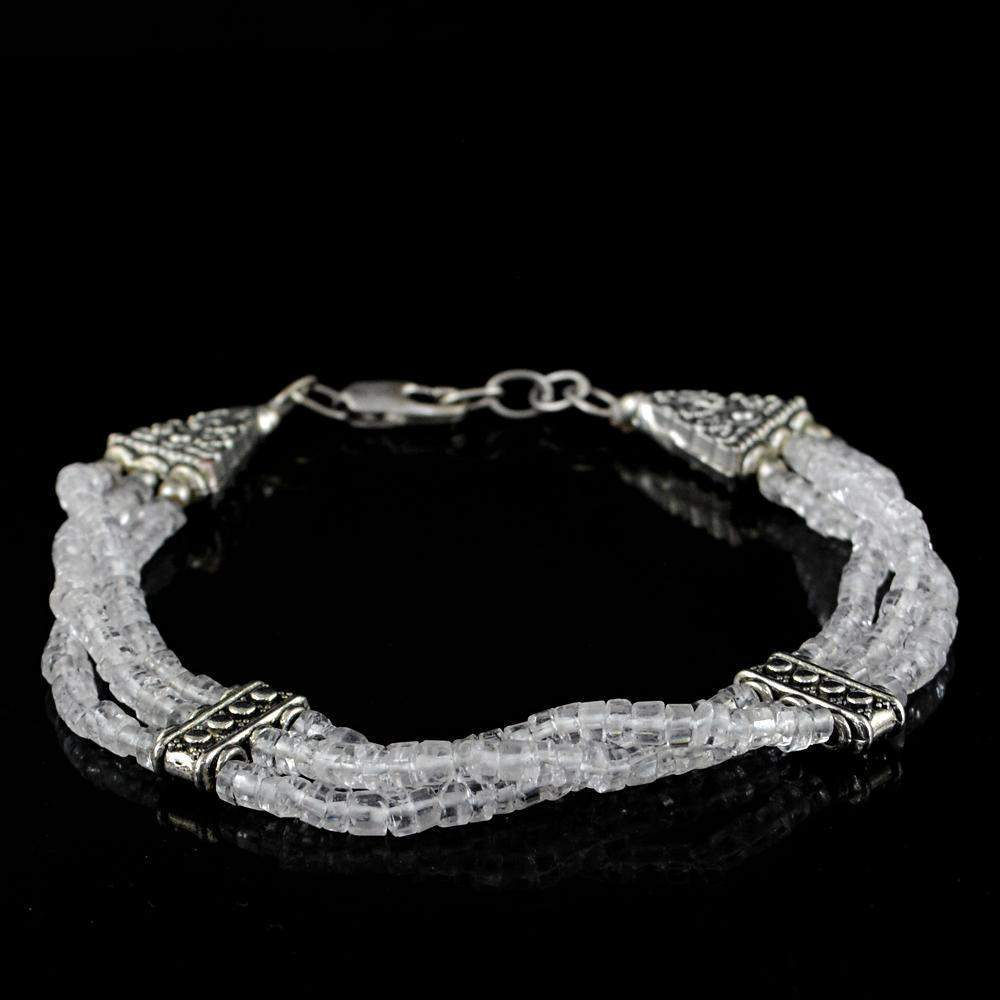 gemsmore:Untreated Natural White Quartz Bracelet Round Shape Beads