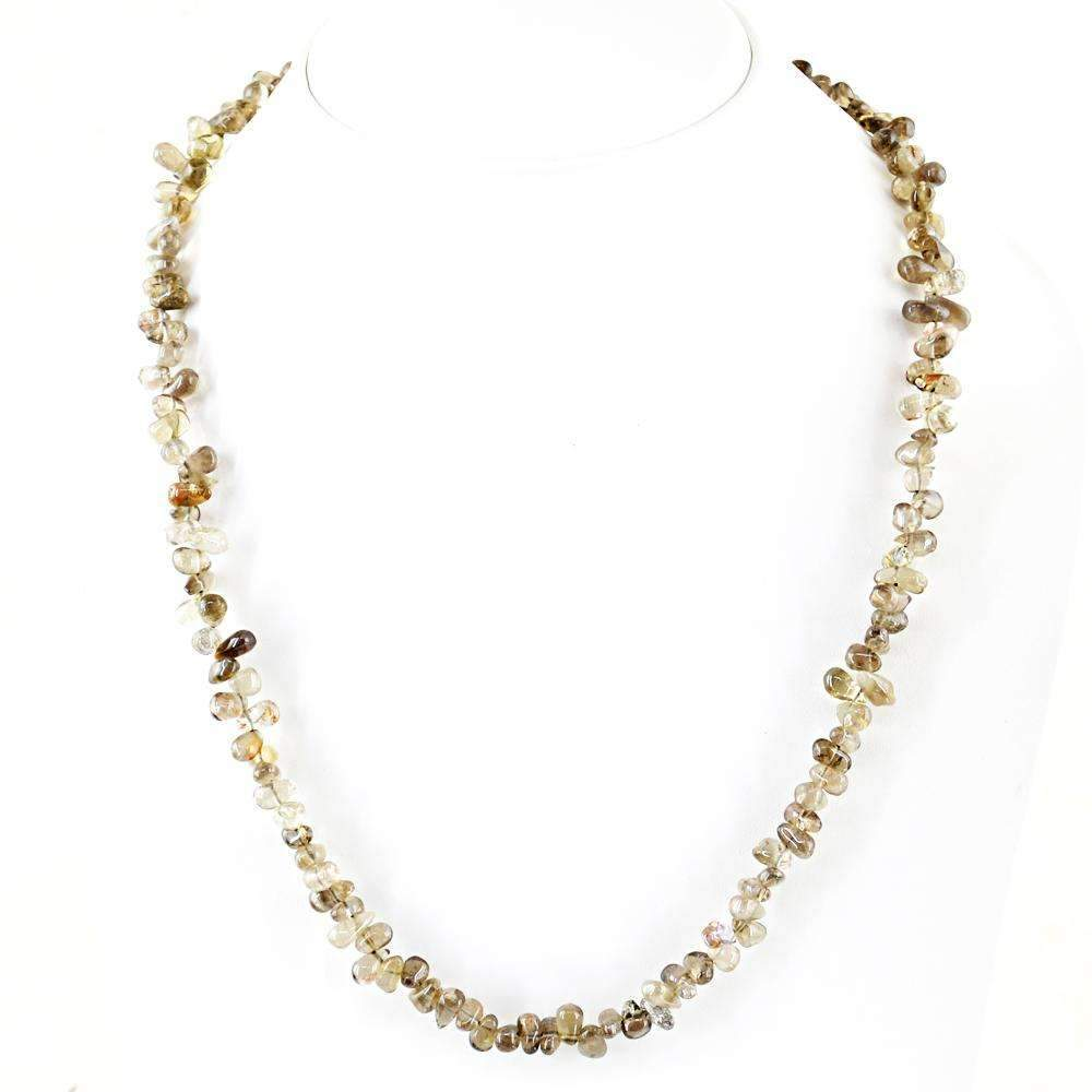 gemsmore:Untreated Smoky Quartz Necklace Natural Tear Drop Beads